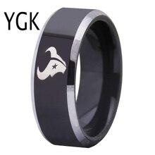 Envío Gratis aduana grabado anillo de Venta caliente 8mm negro con bordes brillantes Houston Texans diseño tungsteno anillo de bodas