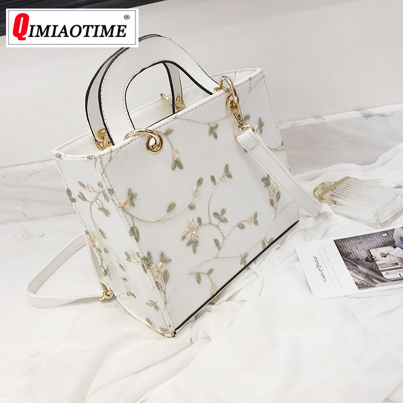 Lace PU Small Square Bag 2018 New Trend Handbag Embroidered Diana Package Fashion Small Fresh Shoulder Messenger Bag Woman Bag 2017 new national wind aslant handbag embroidered flowers small square bag rivet shoulder bag