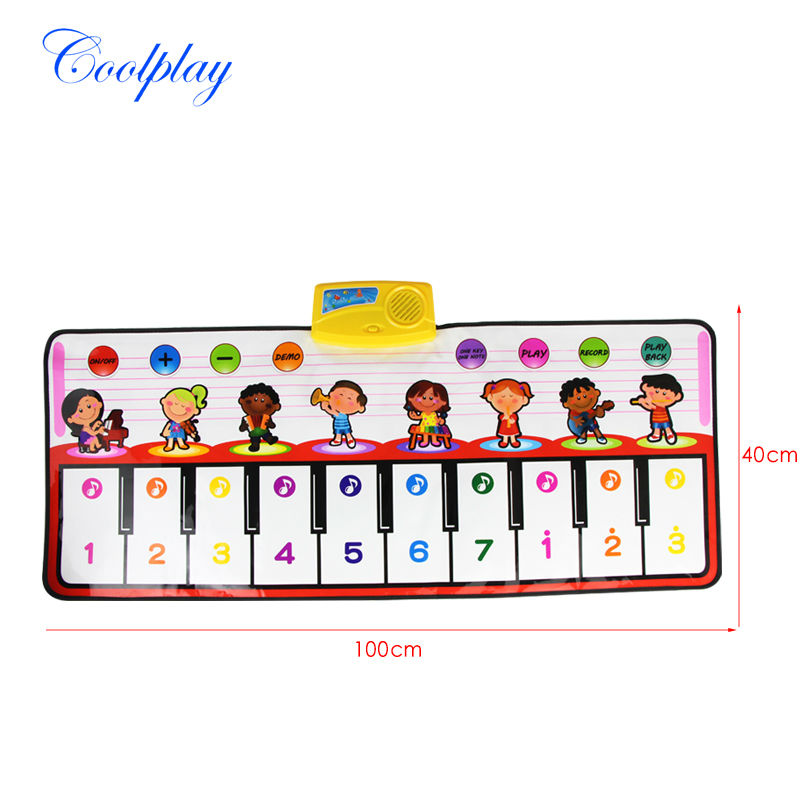 1pcs Big Red Piano Music Game Mats Kids Touch Music Carpet