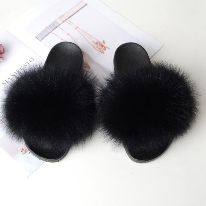 COOLSA Women Flat Non-slip Fox Fur Slides Women Furry Slippers Lady's Plush Fur Slippers Drop Shipping Fur Shoes Women Shoes Hot