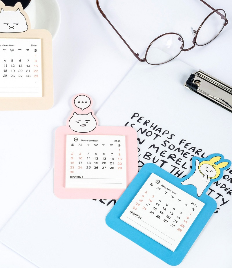 In Quality 2019 Cute Black And White Cat Magnetic Calendar Mini Portable Calendar Memo Pad Daily Schedule Planner 2018.09~2019.12 Excellent