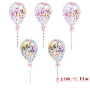 Image 4 - 10/5 adet 5 inç Mini konfeti lateks balonlar için saman ile doğum günü düğün parti kek Topper süslemeleri bebek duş malzemeleri