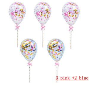 Image 4 - 10/5pcs 생일 웨딩 파티 케이크 토퍼 장식 Bady 샤워 용품에 대 한 빨 대와 5inch 미니 색종이 라텍스 풍선