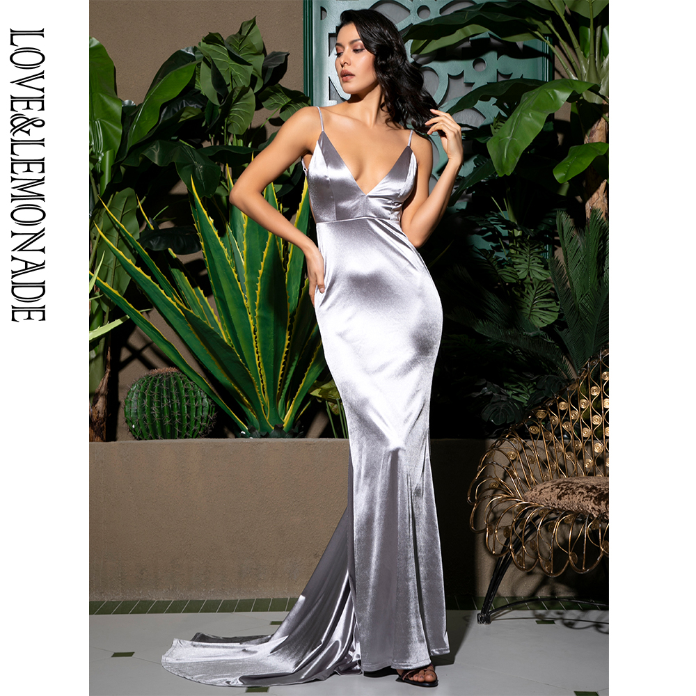 Love Lemonade Sexy Blue Deep V Neck Open Back Slim Flash Material Long Dress LM81222 GARY