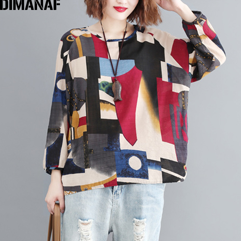DIMANAF Plus Size Women T-Shirts Cotton Loose Casual Lady Tops Tunic Long Sleeve Tees Shirts Print Patchwork Female Clothes 2019