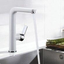 Белый и хром смеситель для кухни на одно отверстие качество латунь вращения раковина кран белый ванная смеситель новый дизайн