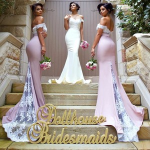 Image 2 - Pink Lace Applique Sexy 2018 new Mermaid Long Bridesmaid Dresses Maid Of Honor For Wedding Party With Train plus size maxi 2 26w