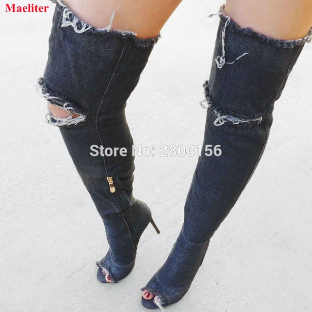 Hot selling denim cut-outs over the knee boots sexy thigh high boots for woman high heel open toe gladiator boots shoes summer cut outs gladiator sandals boots women sexy peep toe over knee boots high heels thigh high sandal boots