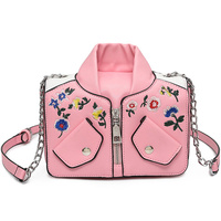 Luxury Women Leather Bags Handicraft Embroidery Flowers Jacket Retro Style Messenger Bags Shoulder Crossbody Bag Pink