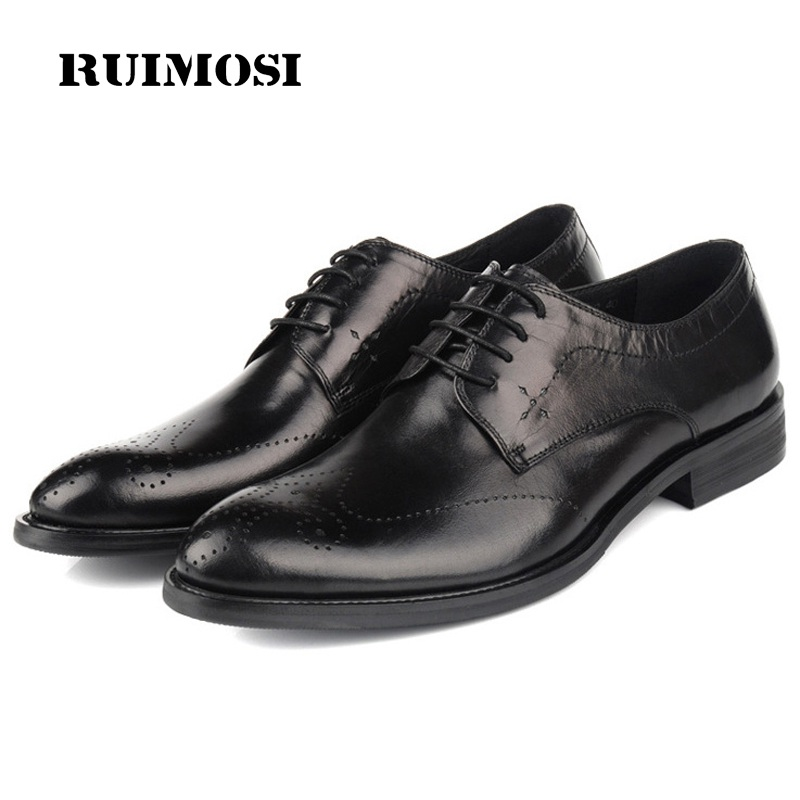 RUIMOSI British Wing Tip Man Dress Shoes Genuine Leather Breathable Brogue Oxfords Round Toe Formal Men's Wing Tip Flats YD91