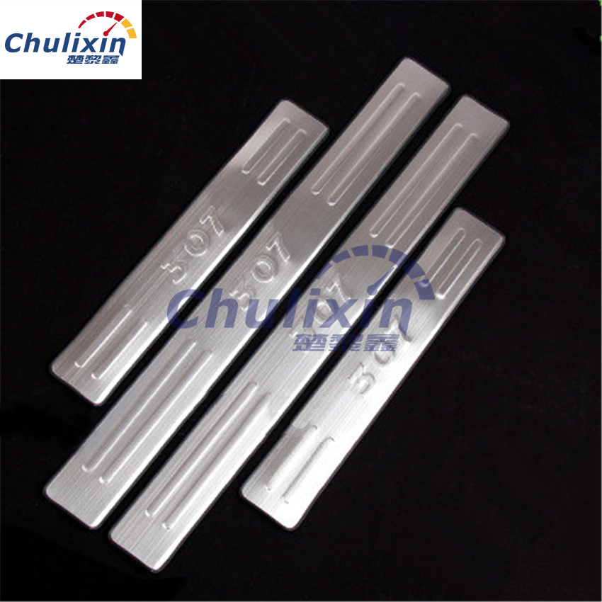 4pcs/lot Stainless steel car stickers of Door Sill Scuff Plate for 2012-2016 Peugeot 307 car accessories