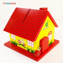 Wooden Savings Tank Creative Wooden Red House Savings Tank Savings Box Children Gift Parent-Child Interaction