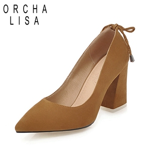 ORCHALISA Red beige Pumps for Women ladies High block Heels Shoes Women Bowtie Flock Pointed Party Shoes Woman Sapato Mujer C361