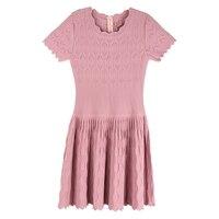 2017 Ladies Slim Elegant Powder Fish Tail Summer Short Sleeve Cutout Pleated Knitted One Piece Dress