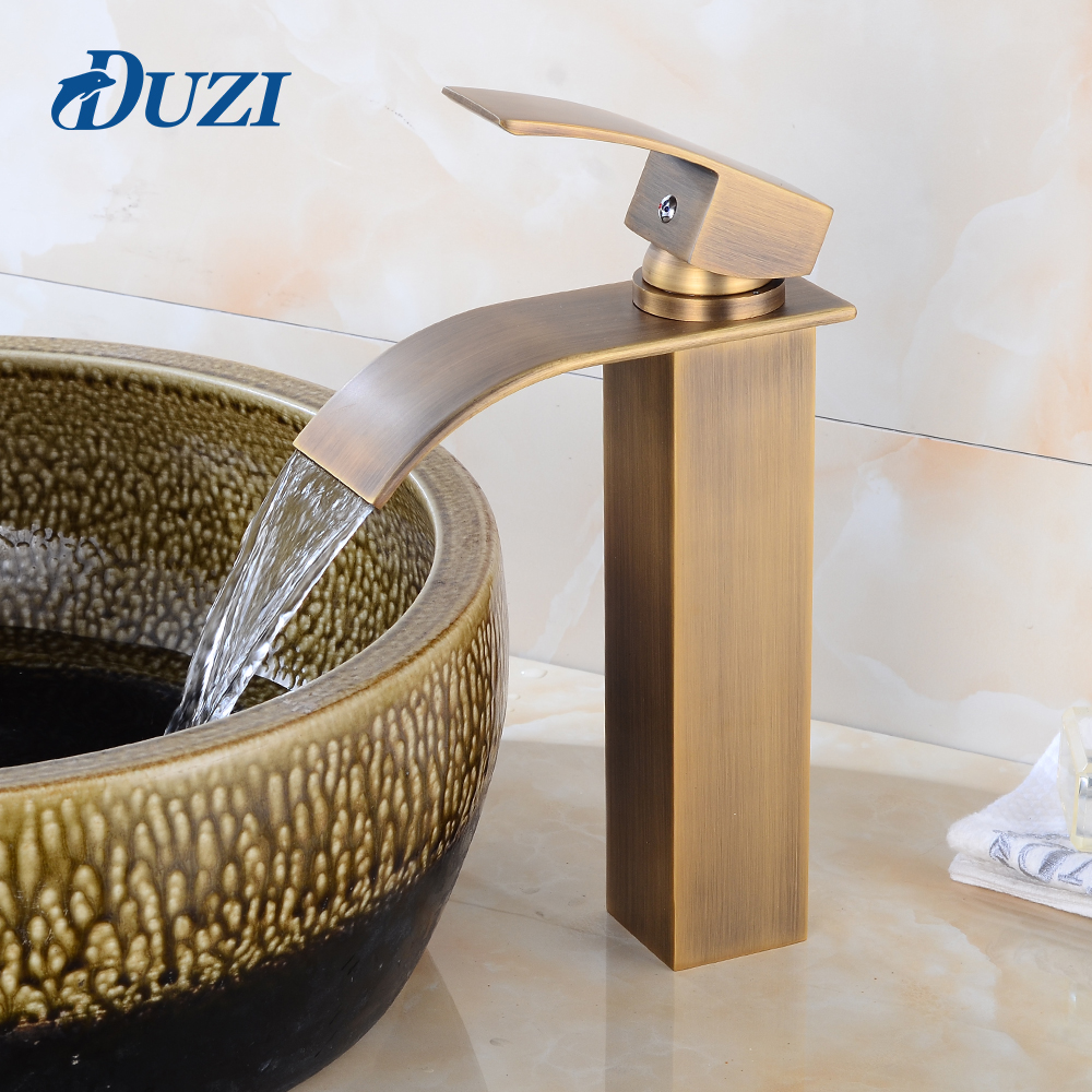 DUZI Waterfall Bathroom Basin Faucets Modern Bath Water Taps Single Hole Cold and Hot Water Tap Basin Faucet Mixer Taps Water flg basin faucets modern orb bathroom faucet waterfall faucets single hole cold and hot water tap basin faucet mixer taps