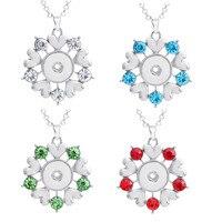 50 cm Link Chain 12 sztuk/partia Mix 4 Kolory Metal Rhinestone Serca Kwiat 18mm Napy 50 cm Link łańcuch Długi Naszyjnik Biżuteria