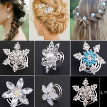 6pcs Fashion Bridal Wedding Crystal Pearl  colorful Flower Hair pins Swirl Spiral Twist Jewelry wholesale Free shipping