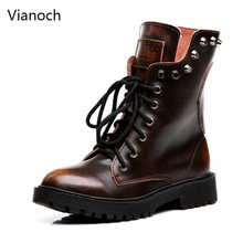Vianoch New Fashion Motorcycle Boots Women Casual Winter Warm Mid Calf Shoes Woman Block Heel Fur Shoe Big Size wo1808136