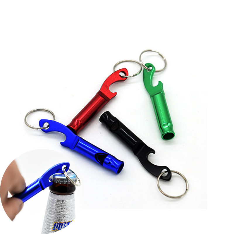 1PCS Portable 4 In 1 Bottle Opener Lovely Whistle Key Ring Chain Keyring Keychain Metal Beer Bar Tool Gift Free Shipping Hot