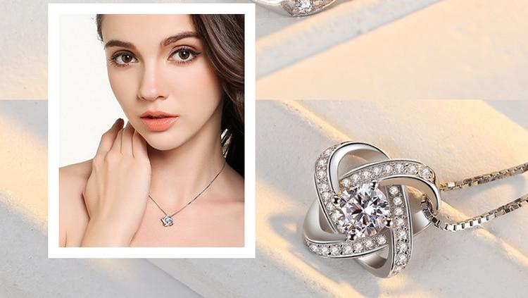 DIEERLAN 19 Bridal Jewelry Sets 925 Sterling Silver Crystal Cross Clover Flower Necklaces for Women Wedding Jewelry Bijoux 6
