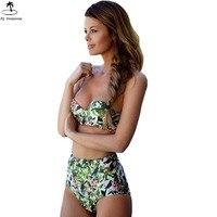 Womens Vintage Retro High Waist Bikini Halter Push Up Floral Bathing Suit Swimwear Bikini