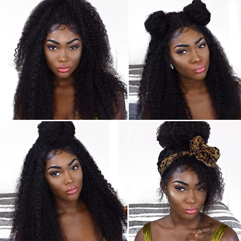 Kinky Curly Lace Front Human Hair Wigs For Women Natural Black Color 250 Density Brazilian Short
