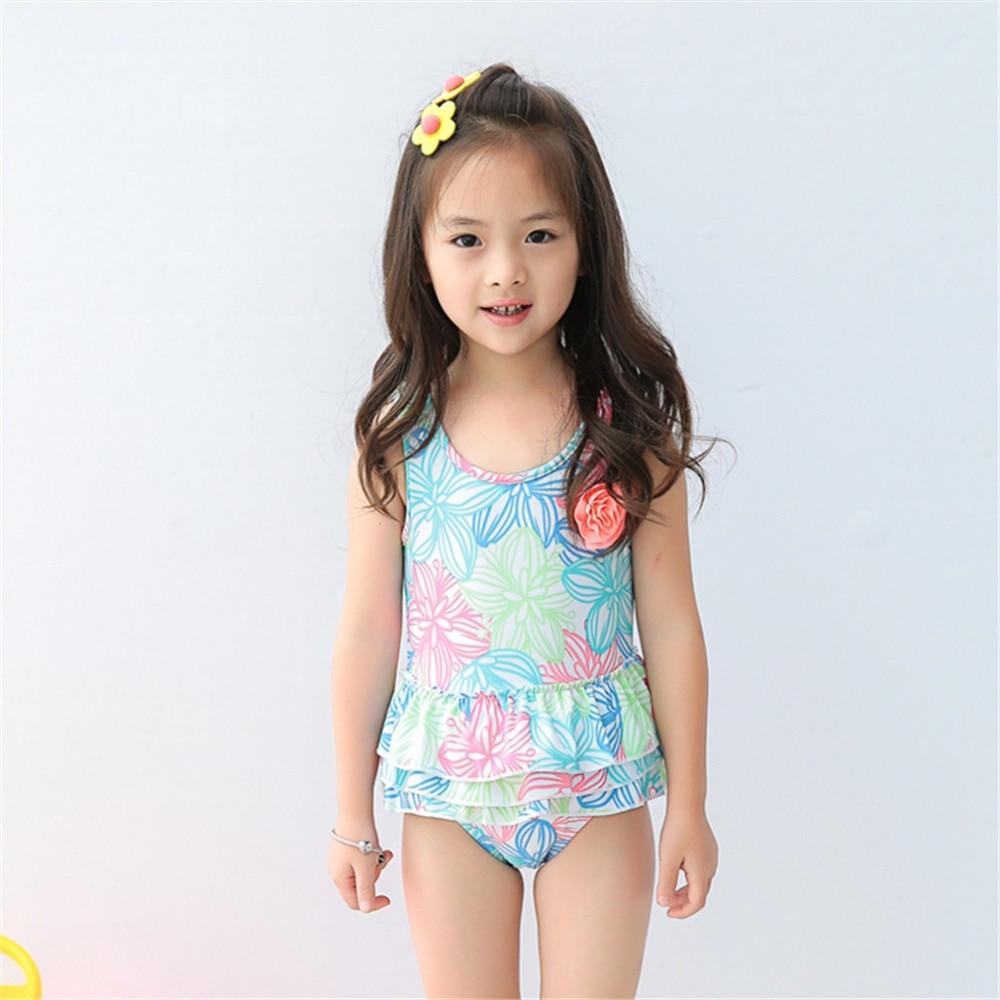 Baby flickor badkläder med mångfärgade blommor målade 1-8 Y Barnklänning Design Baddräkt Barn en bit strandkläder