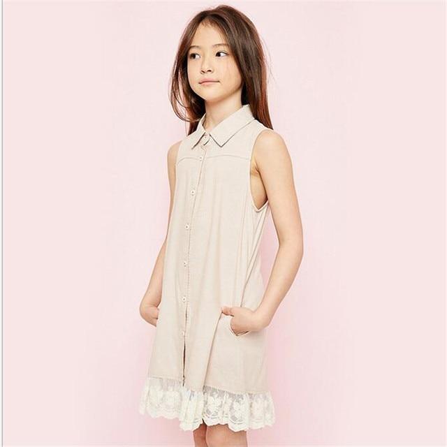 eccf6680d5cc24 Grote Baby Meisjes Kant Jurken Tiener Fashion Jurk Junior Zomer Kleding  childrens groothandel kleding