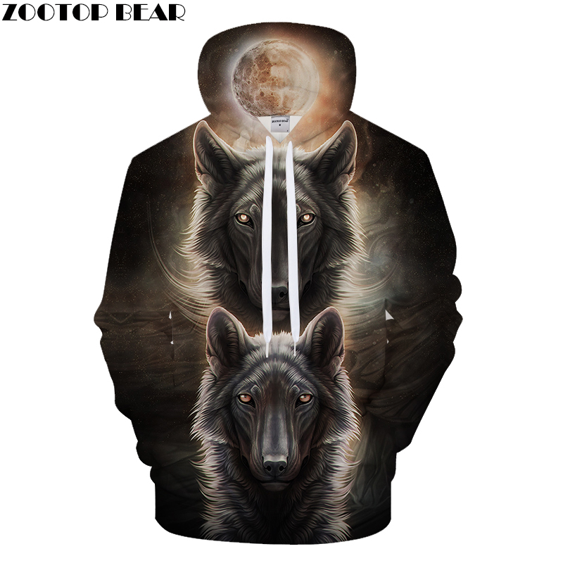 Moon Light Hoodies Men Wolf Hoody Anime Sweatshirt Autumn Pullover 3D Tracksuit Male Coat Hip Hop Unisex Drop ship ZOOTOPBEAR