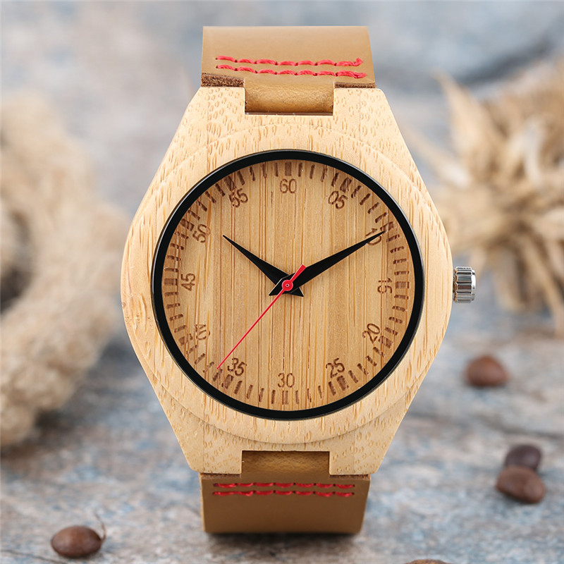 Classic Number Nature Wooden Design Men Women Quartz Wristwatch Genuine Leather Band with Red Lines High Quality Wood Watch Gift novel wooden bamboo wrist watch nature wood casual cool women men trendy fashion genuine leather band strap quartz dress gift