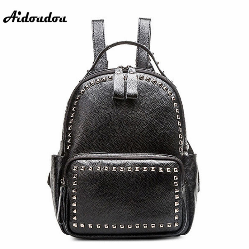 AIDOUDOU Hot Sale Rivet Women Leather Backpack Fashion School Bags For Teenagers Girls High Quality Ladies Backpacks Black сапоги san marko