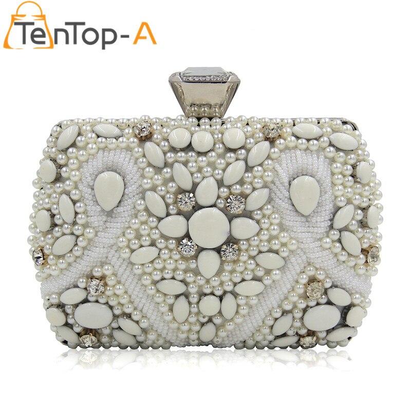 TenTop-Un Gran Perla Hecha A Mano Con Cuentas de Diamantes de Tarde Del Bolso De