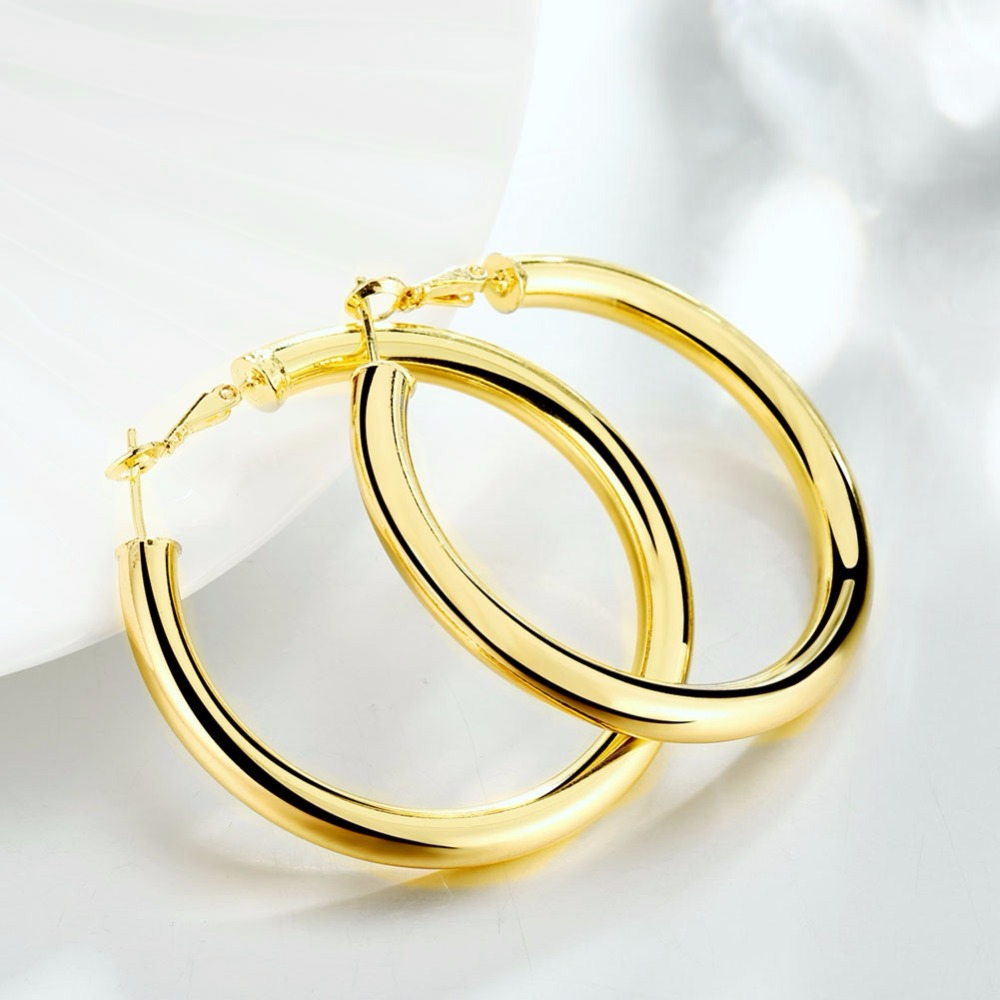 Female Earrings 5 0CM Big Smooth Round Earrings Gold Filled Women Earrings Jewelry Accessories Gifts Prata Brinco in Hoop Earrings from Jewelry Accessories