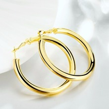 Female Earrings 5.0CM Big Smooth Round Gold Filled Women Jewelry Accessories Gifts Prata Brinco
