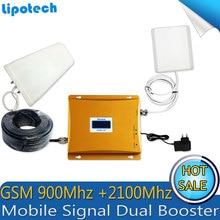Diy Kit GSM 900 Mhz 3G W-CDMA 2100 Mhz Double Bande Téléphone portable Signal Booster GSM 900 2100 UMTS Répéteur de Signal Avec Écran lcd