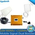 Diy conjunto de calidad superior ganancia gsm900mhz + wcdma2100mhz teléfono celular amplificador de señal móvil de doble banda repetidor de refuerzo lintratek antena