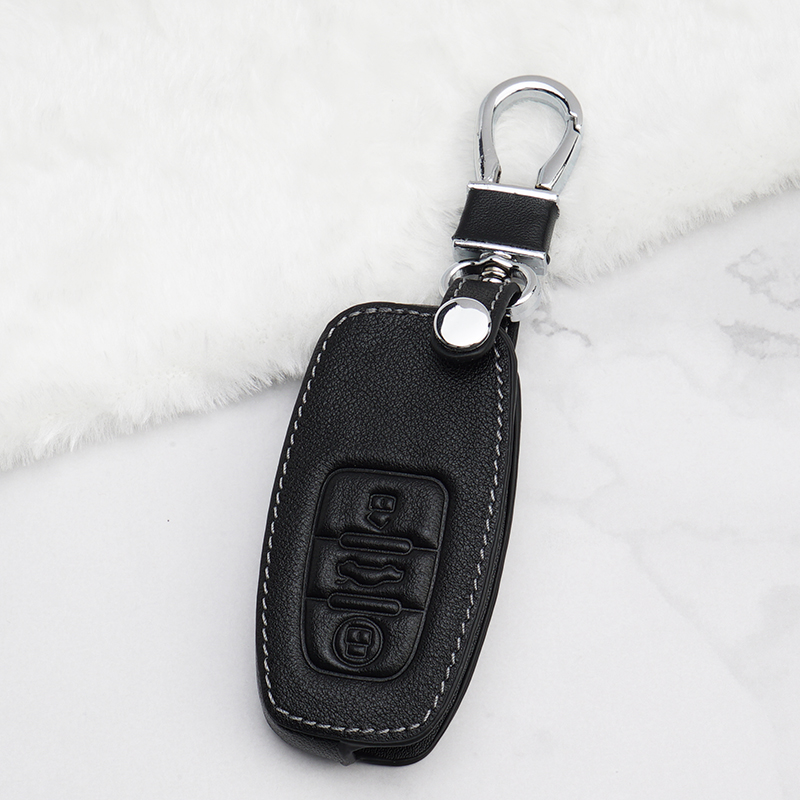Car Key Case Car Styling Leather Car Key Cover Case For Audi A1 A3 A5 A6 Q3 Q7 A7 A8 S8 Q5 Keychain Ring Holder Car Accessories