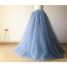 Dusty Blue Tulle Skirt Floor Length Tutu Adult Women Long Skirt Vintage Bridesmaid Tutu Bridal Skirt for Wedding Any Color Free