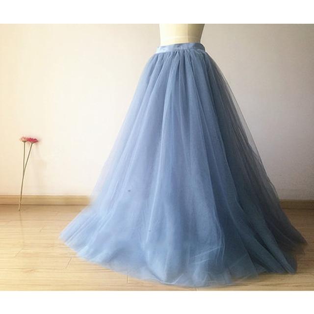 8ac6eb63 US $36.27 7% OFF Dusty niebieski tiul spódnica długość podłogi Tutu dla  dorosłych kobiet długa spódnica w stylu Vintage druhna Tutu spódnica ...