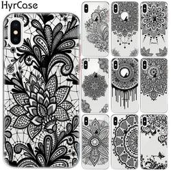 Мягкий чехол с изображением мандалы, кружева, цветов, национального ветра, тотема, чехол для iPhone 8, 7, 6, 6S Plus, XS, 11 Pro Max, XR, 5 цветов, 10 X, сексуальны...