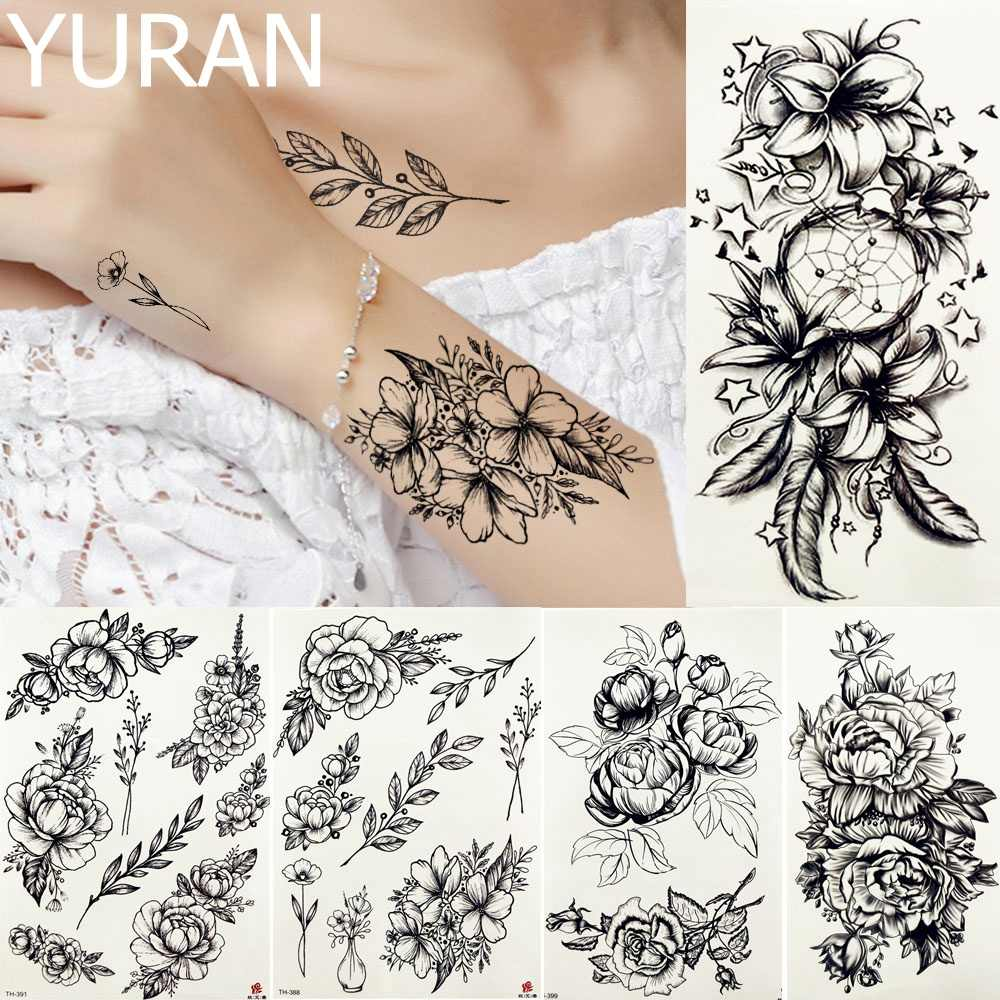 Detail Feedback Questions About Yuran Black Dream Catcher Tattoos