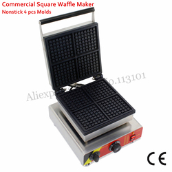 Electric Square Waffle Machine Stainless Steel Cake Maker 4 Moulds Commercial Use 110V/220V 1500W for Restaurants
