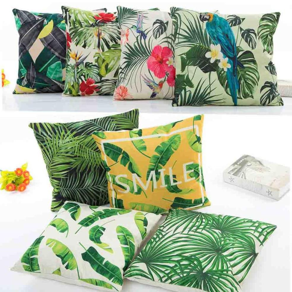 Cotton Linen Vintage Flower Grass Tropical Leaves Cotton Linen Throw Pillow Case Cushion Cover Car Sofa Home Decor #BF