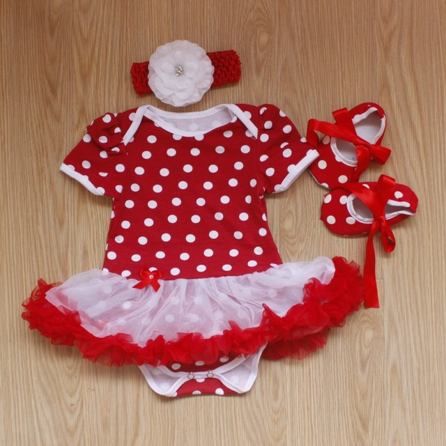 c524c3f278d Baby Rompers 3PCs Infant Clothing Set Baby Girls Red Polka Dots White Lace  Tutu Dress Jumpersuit Headband Shoes