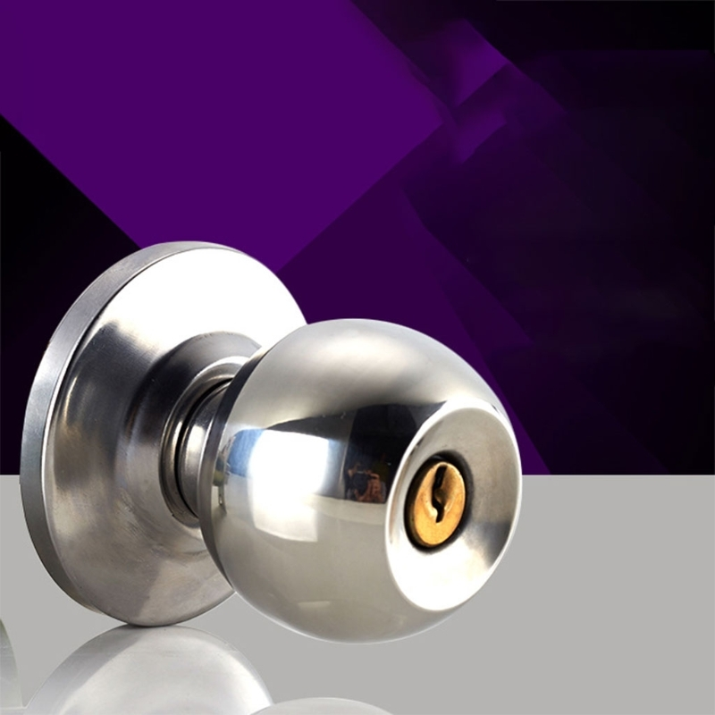 Round Door Handle Door Knobs Lock Stainless Steel Entrance Passage Door Lock with Key for Bedroom Living Room BathroomRound Door Handle Door Knobs Lock Stainless Steel Entrance Passage Door Lock with Key for Bedroom Living Room Bathroom