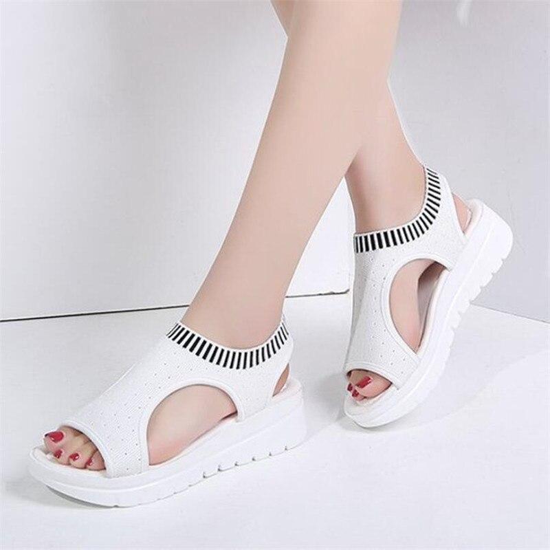 Wigqcy 2019 Frauen Sandalen Neue Frauen Schuhe Mode Sommer Hang Mit Atmungsaktivem Feste Slip Flache Weibliche Sandalen X86 Angenehm Zu Schmecken