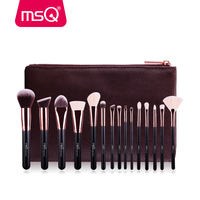 MSQ 15pcs Rose Gold Makeup Brush Set Animal Hair And Synthetic Hair With PU Leather Case