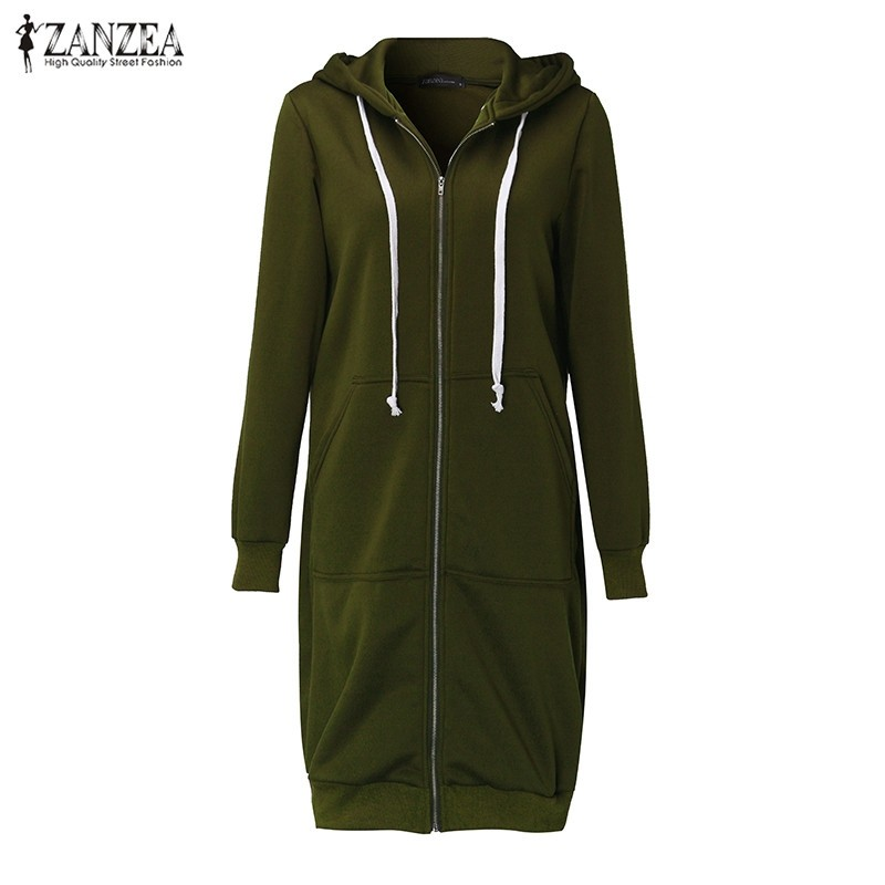 Oversized 2017 Autumn Women's Casual Long Hoodies Sweatshirt, Coat, Pockets, Zip Up, Outerwear Hooded Jacket 26