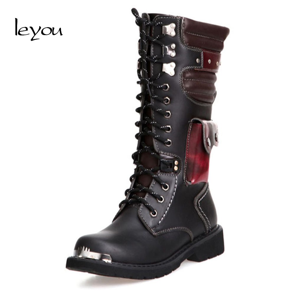 6806b75c9b8 Leyou Men Leather Long Boots Motorcycle Men Knee High Boots Riding Army  Combat Boots Military High Shoes Autumn Winter