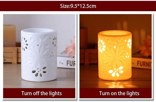220v Creative Modern Openwork Electric Ceramic Mini Night Light Sesame Oil  Fragrant Powder SPA Yoga Aroma Stove Furnace Gifts
